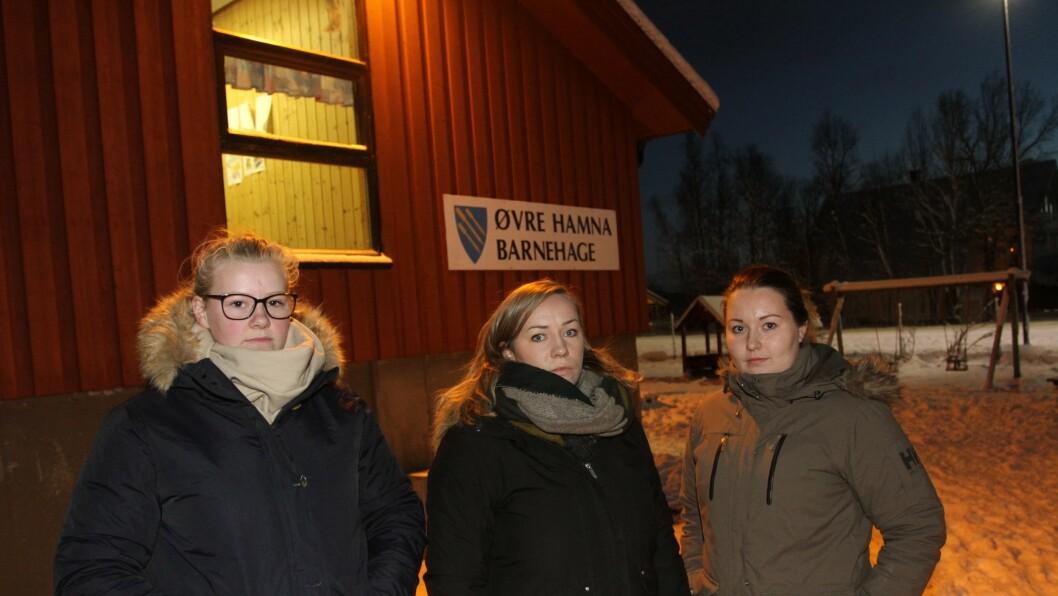 Foreldresamarbeidsutvalget, her representert ved Ida Skøyen, Anette M. Lorentsen og Anniken Gjendahl, har startet underskriftskampanje for å berge Øvre Hamna barnehage.