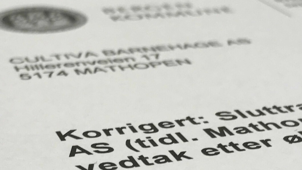 I denne rapporten gjør Bergen kommune det klart at den vil kreve 1.960.000 kroner tilbakebetalt fra Cultiva barnehage AS.