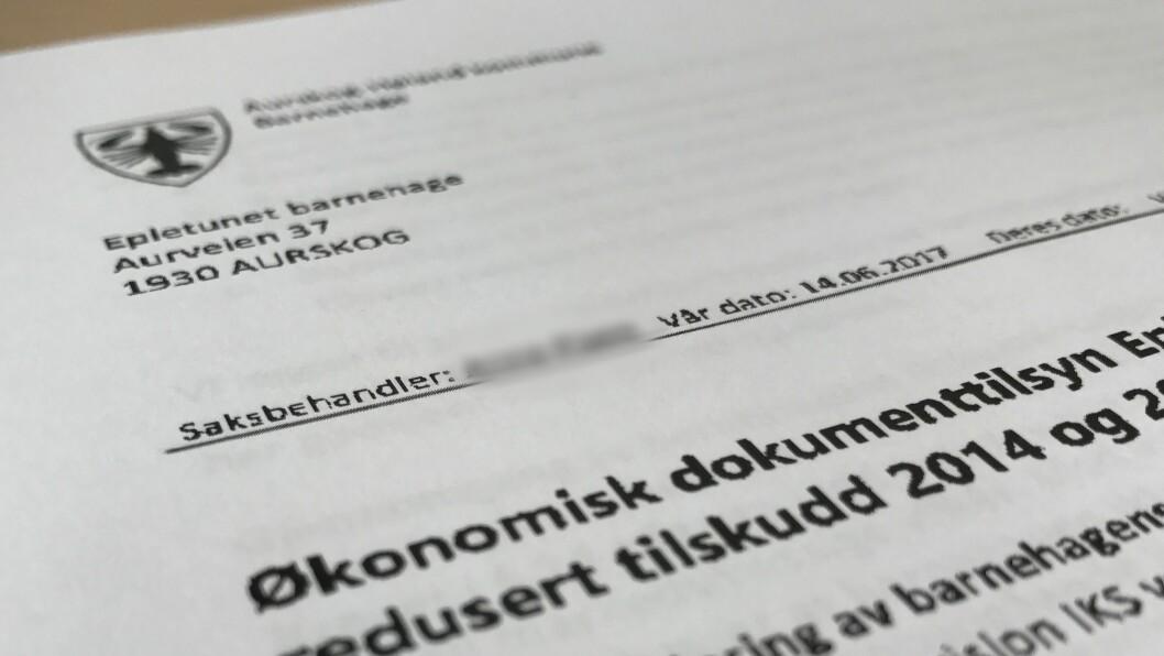 I vedtaket datert 14. juni i år krever Aurskog-Høland nærmere fire millioner kroner i tilskudd tibakebetalt fra Epletunet barnehage. I tillegg risikerer barnehagen å miste deler av sine løpende tilskudd fra 1. oktober.