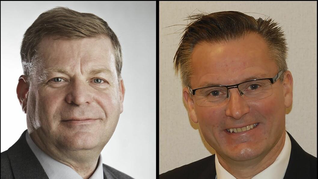 Ordfører Noralv Distad i Aurland kommune (til venstre) og ordfører Jarle Nilsen i Karmøy kommune.