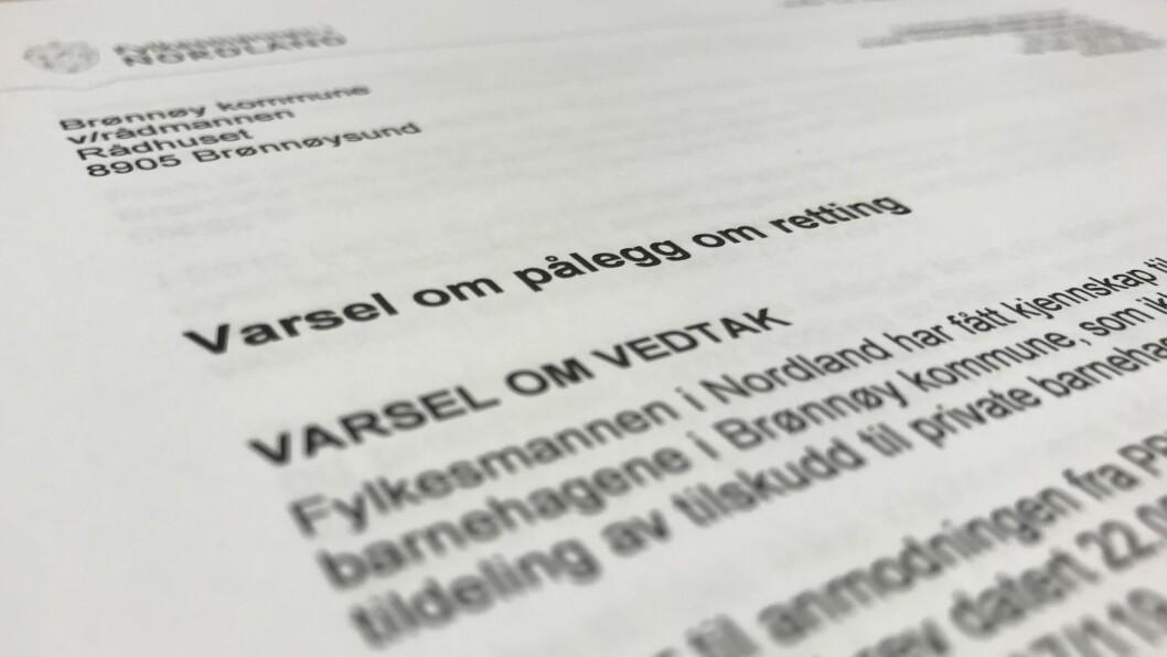 Fylkesmannen i Nordland er klar på at Brønnøy kommunes forvaltning av tilskudd til private barnehager ikke er i tråd med barnehageloven og forskrift om tildeling av tilskudd.