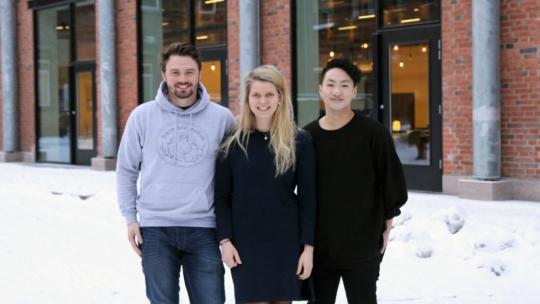 Fra venstre: Mattias Hjøllo Bernstrøm, Karen-Marie Skjæveland og Frank Aleksander Bræin.
