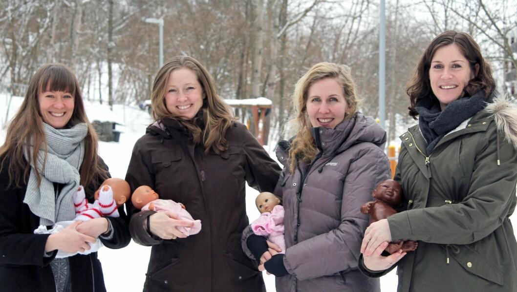 De fire barnehagelærerne i Den blå appelsin Kanvas-barnehage skal ha barn nesten samtidig.  Fra venstre Lina Kjellman, Marthe Gjerdingen, Silje Bergqvist Kristensen og Kjersti Krohg Sørensen.