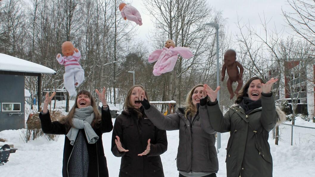 Så glade er barnehagelærerne over å skulle bli mødre - nesten samtidig. Fra venstre: Lina Kjellman, Marthe Gjerdingen, Silje Bergqvist Kristensen og Kjersti Krohg Sørensen.