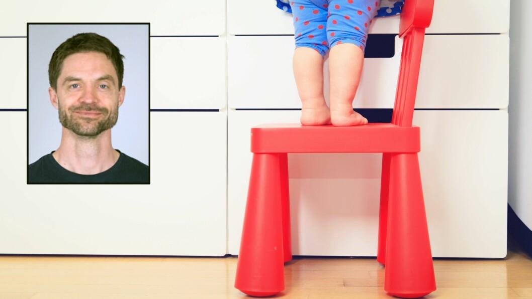 – Uhell skjer. Det er helt klart et dilemma for de i barnehagene, sier doktorgradsstipendiat Rasmus Kleppe. Han har forsket på de yngste barnas risikolek i barnehagene. Foto: Gettyimages/Oslomet