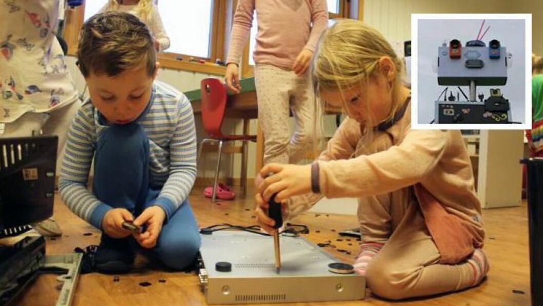 De 20 førskolebarna på avdeling Furuskauen i Lillehagen FUS barnehage har bygget sin egen «rydderobot».