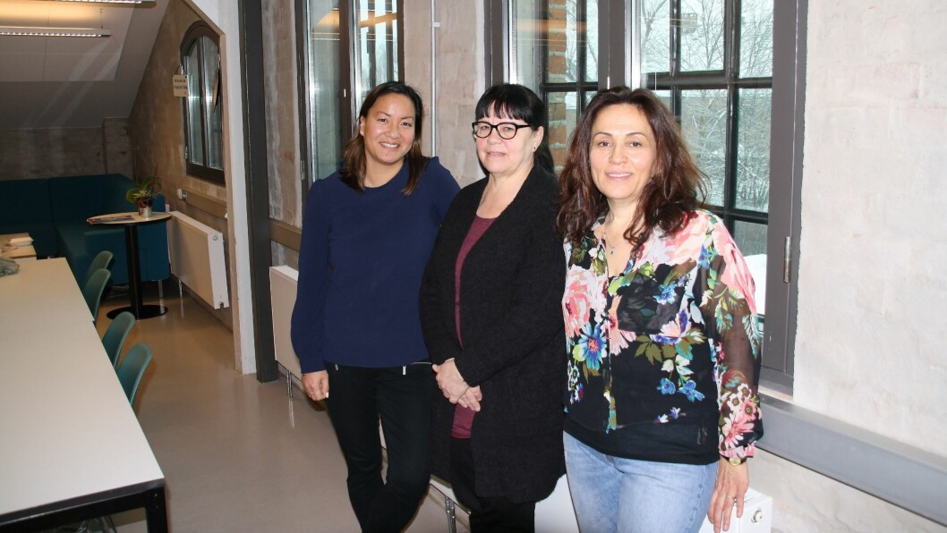 Leila Ponce Arencibia (63) (i midten) og Zahra Sayha Gotorlar (56) (t.h) ble begge ansatt fordi de var godt kvalifisert, men også fordi de har mye erfaring som teamleder Mariann Kruse nå bruker i det viktige inkluderingsarbeidet. Foto: Nav Arbeidslivssenter