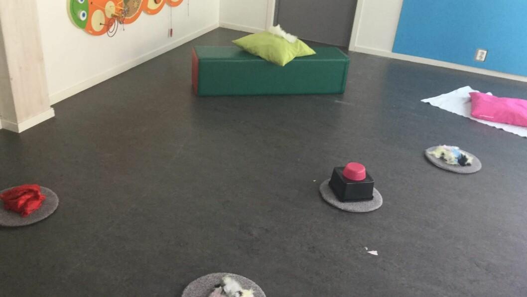 I Læringsverkstedet Naturbarnehage Hurdal ble rommet til de yngste barna innredet med spennende materialer og elementer de kunne utforske.