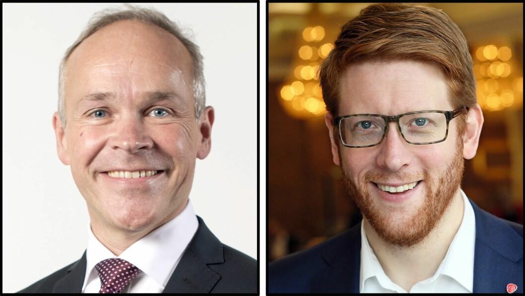 Kunnskapsminister Jan Tore Sanner (H) og Arbeiderpartiets utdanningspolitiske talsperson Martin Henriksen.