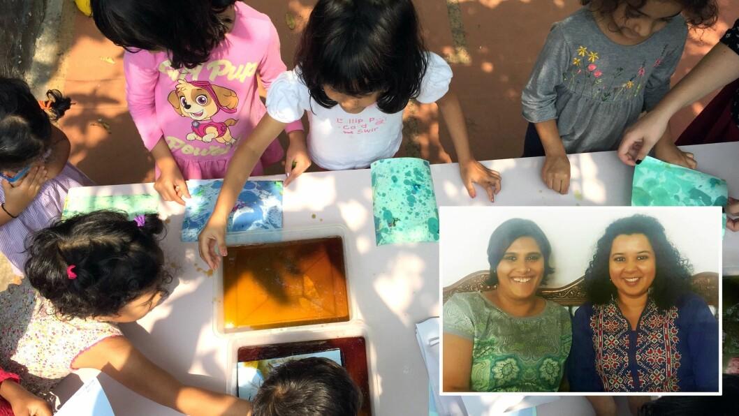 Helen Issar og Darshana Rajaram (innfelt) har omfavnet den norske barnehagemodellen, og åpnet sin første barnehage i India for halvannet år siden.