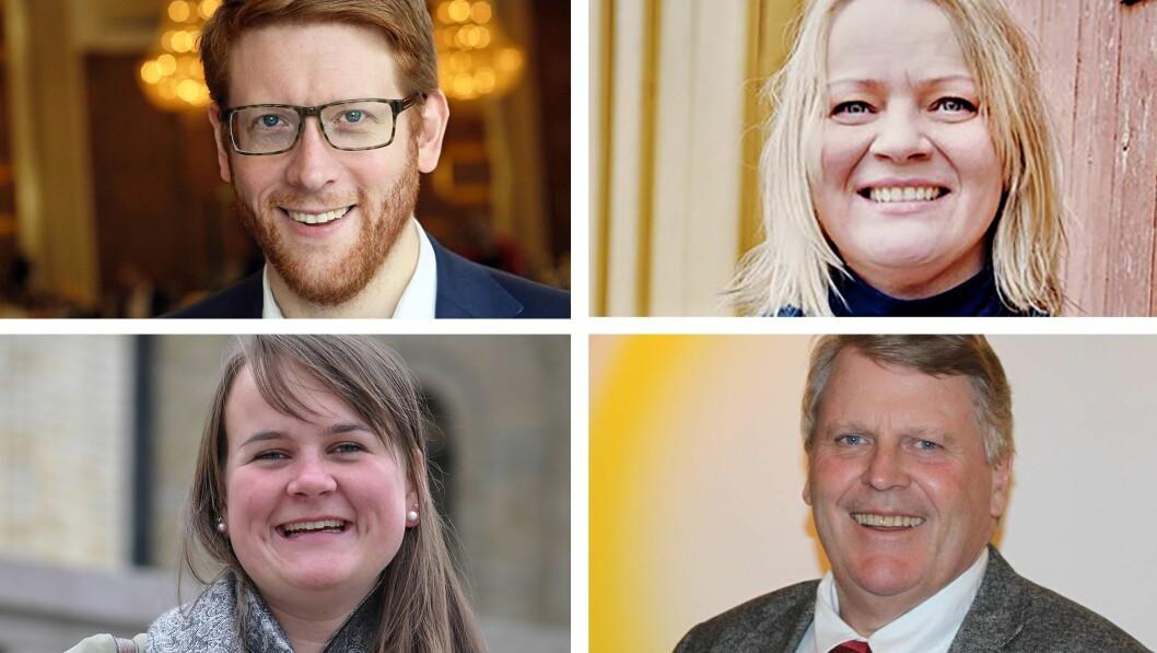 Arbeiderpartiets Martin Henriksen (øverst til venstre), SVs Mona Fagerås (øverst til høyre), Senterpartiets Marit K. Strand og KrFs Hans Fredrik Grøvan er enige om at regjeringens forslag til bemanningsnorm i barnehagene har svakheter.