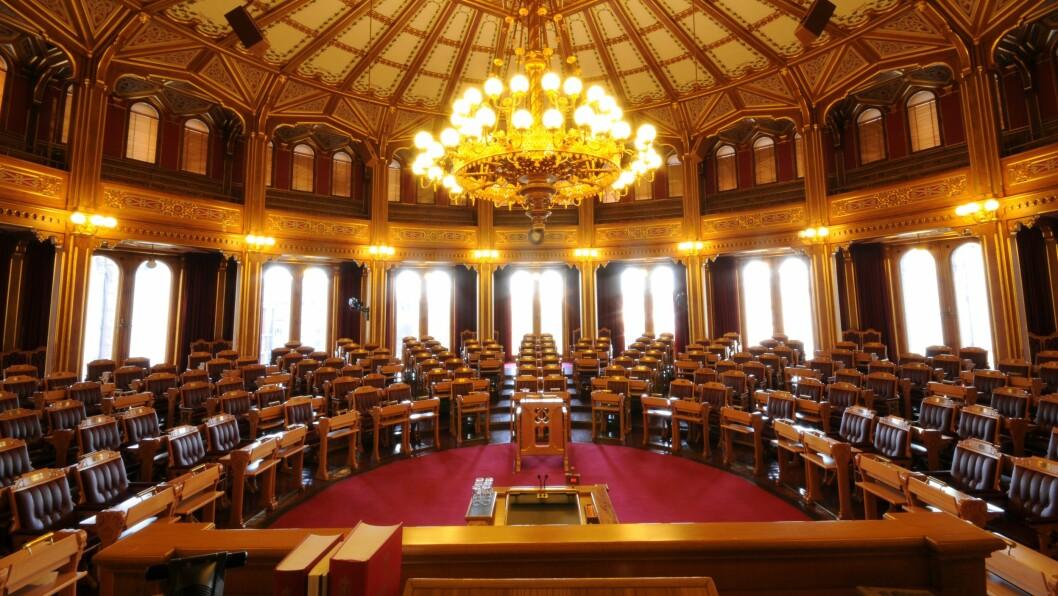 Bemanningsnormen skal etter planen behandles i stortingssalen torsdag 31. mai. Foto: Stortinget