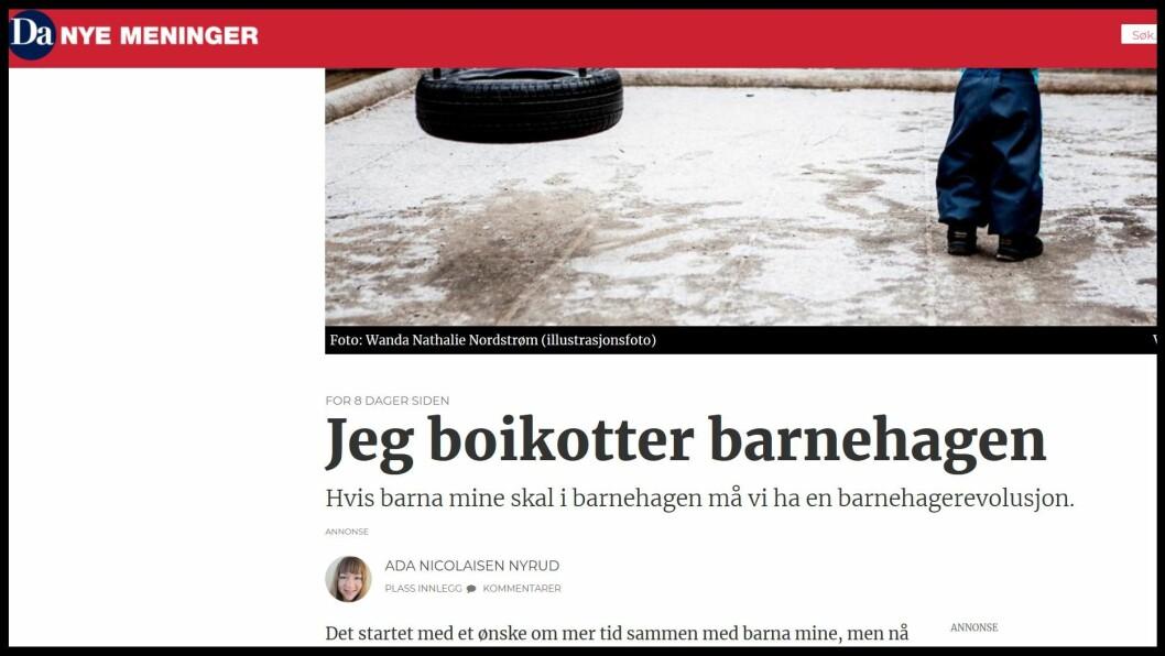 I debattinnlegget i Dagsavisen gjør Nyrud det klart at hun ikke har tillit til norske barnehager med dagens bemanningssituasjon. Faksimile: dagsavisen.no