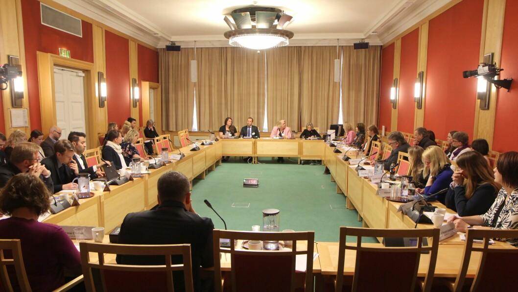 Totalt 17 organisasjoner fikk fire minutter hver til å snakke om de foreslåtte lovendringene i barnehageloven.