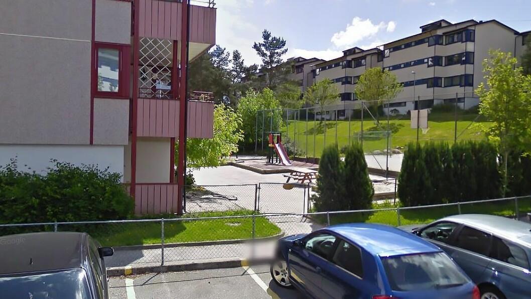 Ørnehaugen barnehage ligger i 1. etasje i et borettslag i Fyllingsdalen. Foto: Googlemaps