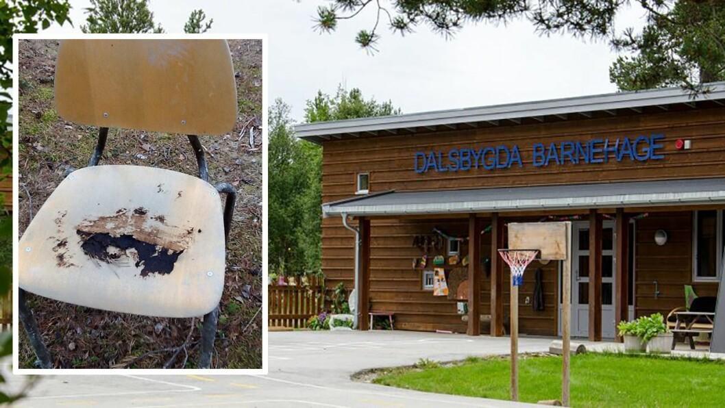 Stolen på det lille bildet var ett av flere steder hvor de ansatte fant avføring da de skulle gjøre klar for utelek i Dalsbygda barnehage mandag. Foto: Dalsbygda barnehage