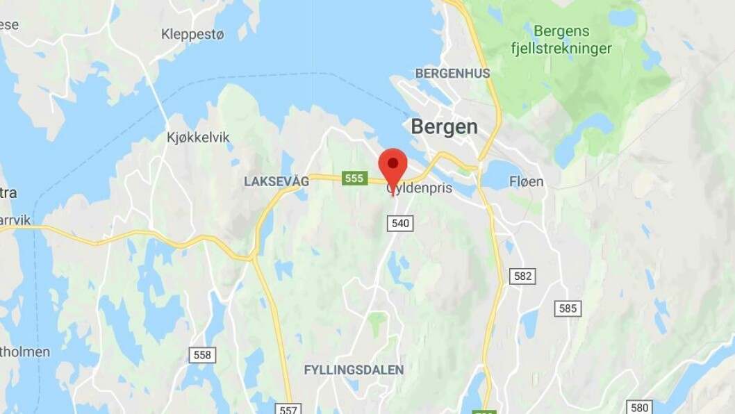De tre barna på 3, 4 og 5 år ble savnet fra barnehagen 10.15 tirsdag. Rundt 12.30 ble de funnet to kilometer unna. Foto: Googlemaps