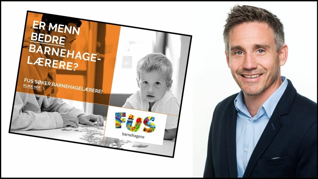 Markedsansvarlig Marius Holm Krog-Johnsen i FUS-barnehagene oppnådde akkurat det han ønsket med denne annonsen.