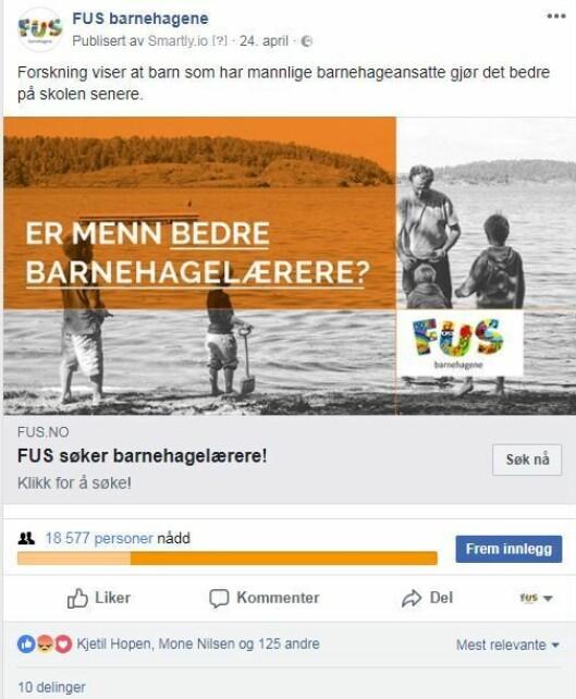 Annonsen skapte mye aktivitet på Facebook, og fikk både positive og negative reaksjoner.