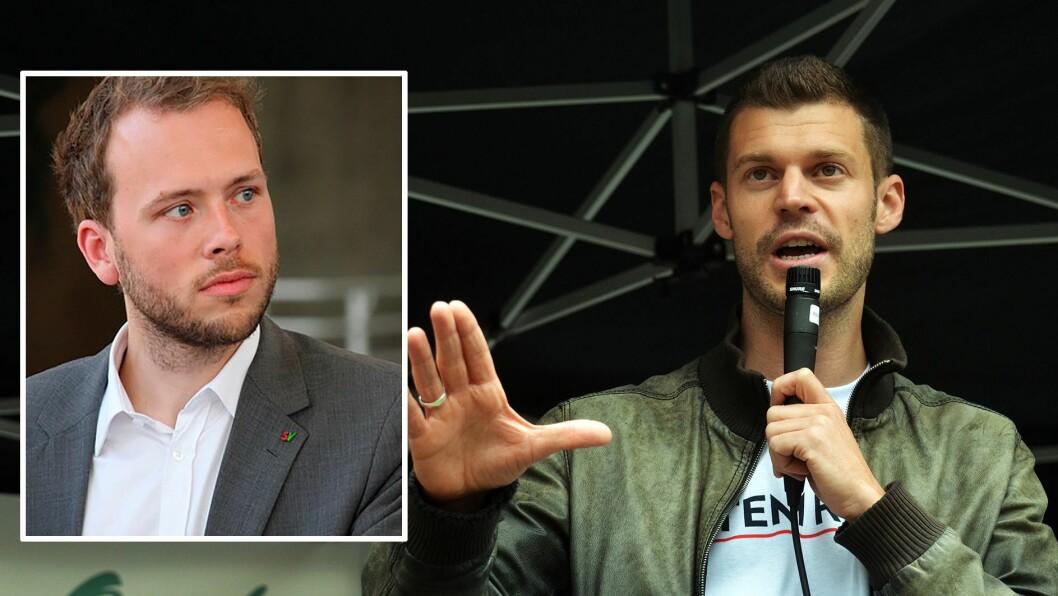 Rødts Bjørnar Moxnes (til høyre) og SVs Audun Lysbakken står bak forslaget om blant annet å gi kommuner forkjøpsrett ved salg av barnehager.