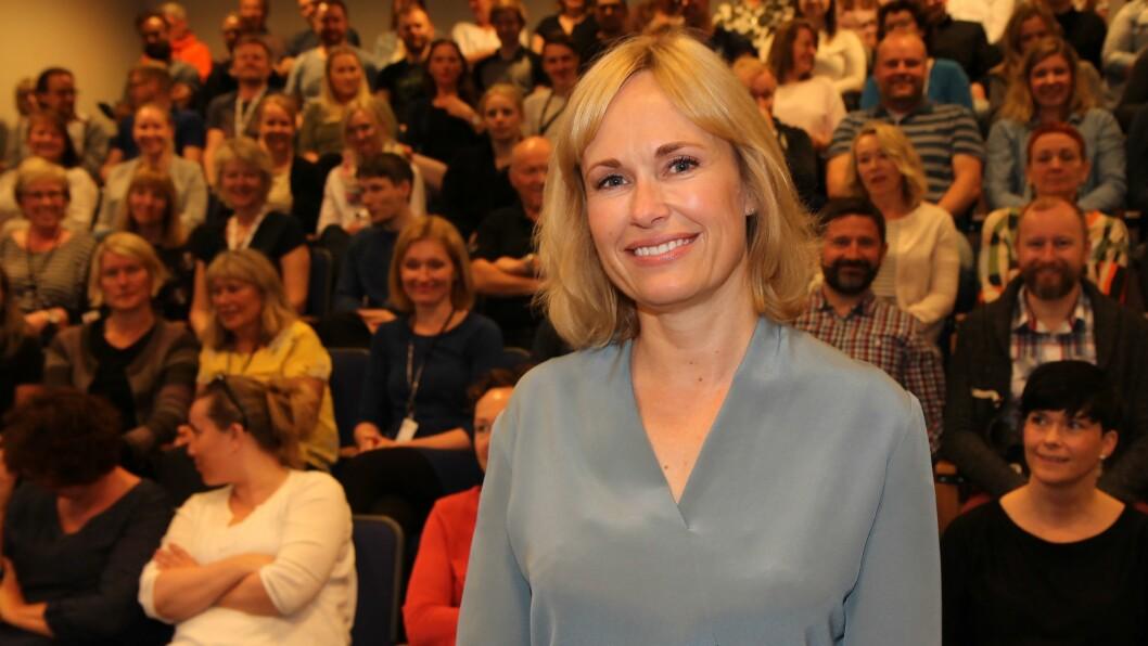 Anne Lindboe ble mandag presentert for de ansatte som ny administrerende direktør i PBL. Foto: Mariell Tverrå Løkås