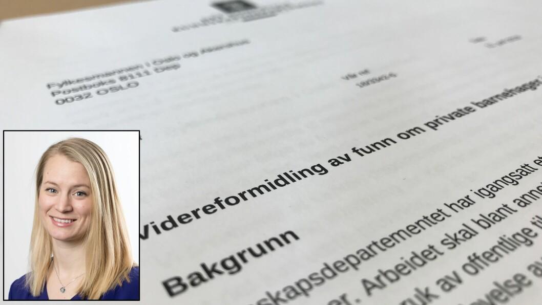 Statssekretær Rikke Høistad Sjøberg (H) sier at departementet ikke har gjort noen selvstendig vurdering av funnene, men at det har en aktivitetsplikt når det kommer meldinger om mulige regelbrudd.