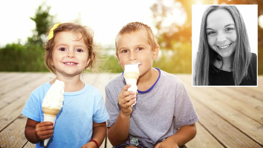 «Barna spør om is, men mamma må ta bilde av det først. Smil før isen smelter!»