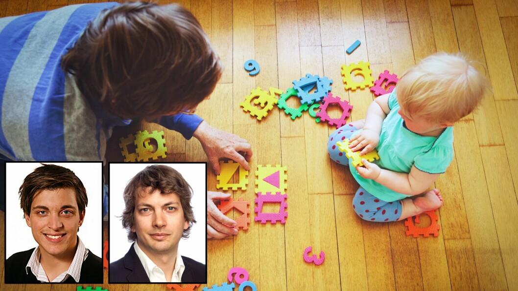 Martin Eckhoff Andresen (SSB) og Tarjei Havnes (UiO) har gjort nye funn om sammenhengen mellom tilgangen på barnehageplasser og småbarnsmødres deltakelse i yrkeslivet. Foto: Getty Images/Universitetet i Oslo