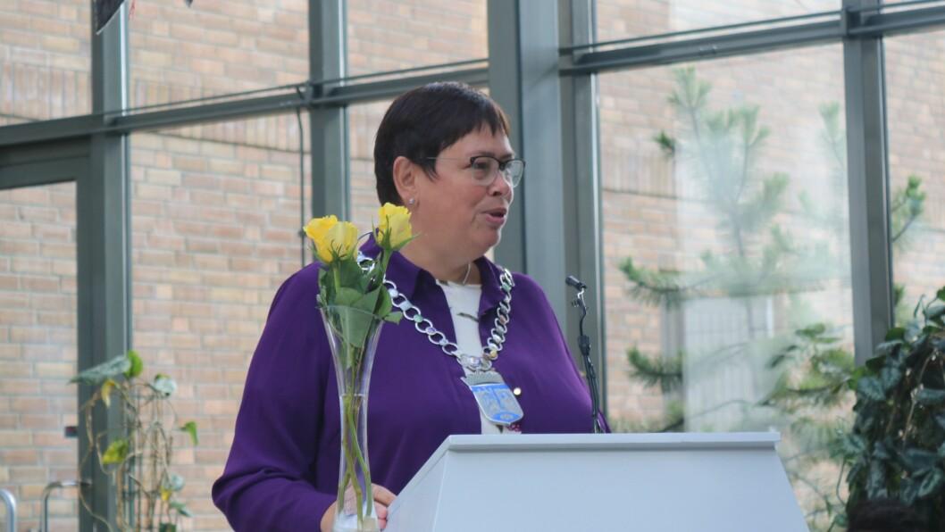 Ordfører Rita Ottervik (Ap) ønsker de nye barnehagelærerstudentene velkommen.