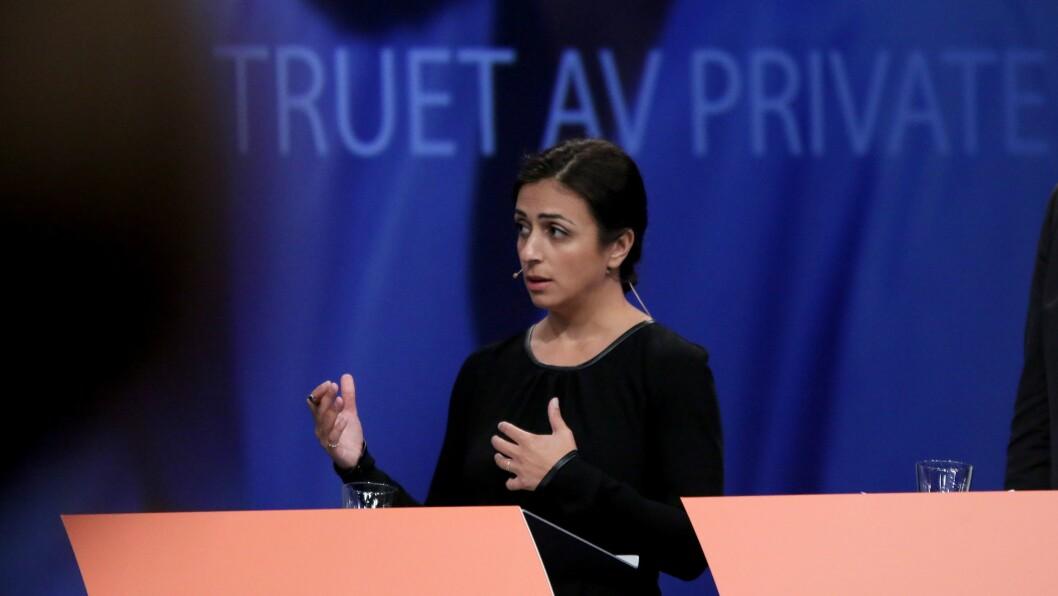 Hadia Tajik (Ap) under debatten i Arendal torsdag. Foto: Mariell Tverrå Løkås