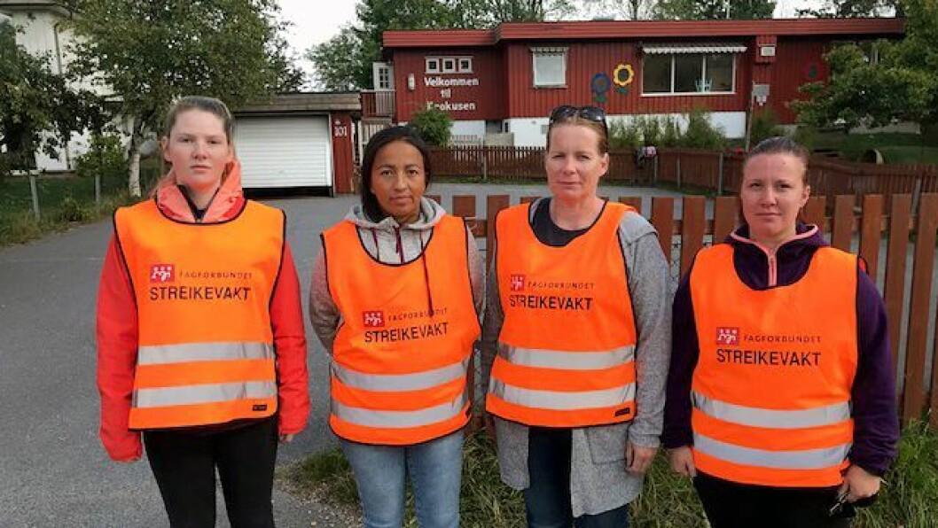 De ansatte i Krokusen barnehage i Sandefjord streiket for å få tariffavtale og de samme lønns- og pensjonsvilkårene som sine kolleger i offentlige barnehager. Nå er de tilbake i jobb.