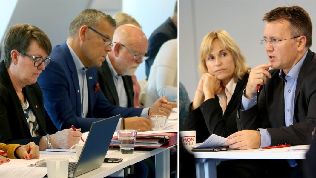 I dag starter de forhandlingene igjen: Fra venstre Anne Green Nilsen fra Fagforbundet, Trond Ellefsen fra Delta og Terje Skyvuldstad fra Utdanningsforbundet i forhandlinger med administrerende direktør Anne Lindboe og forhandlingsleder Espen Rokkan fra PBL.