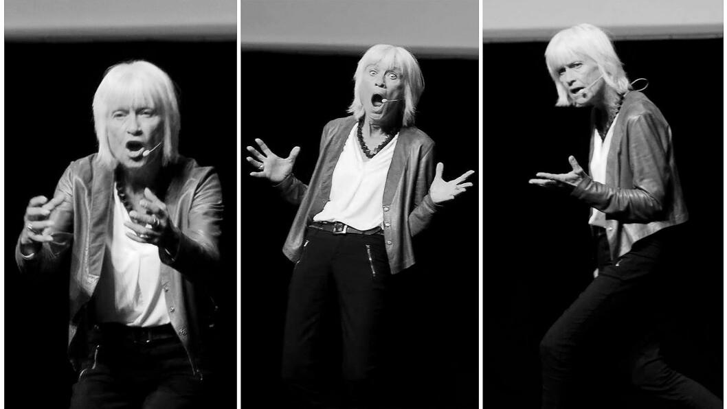 Erica Grunnevoll holdt et engasjert - og engasjerende - foredrag om ledelse under PBLs lederkonferanse 2018.