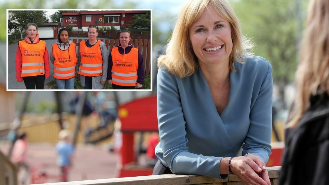 PBL-direktør Anne Lindboe mener det er viktig for renommeet til sektoren at de ansatte i barnehagene har gode lønns- og arbeidsvilkår. Hun støtter de streikende i Krokusen barnehage i Sandefjord. Foto: Mariell Tverrå Løkås og Fagforbundet