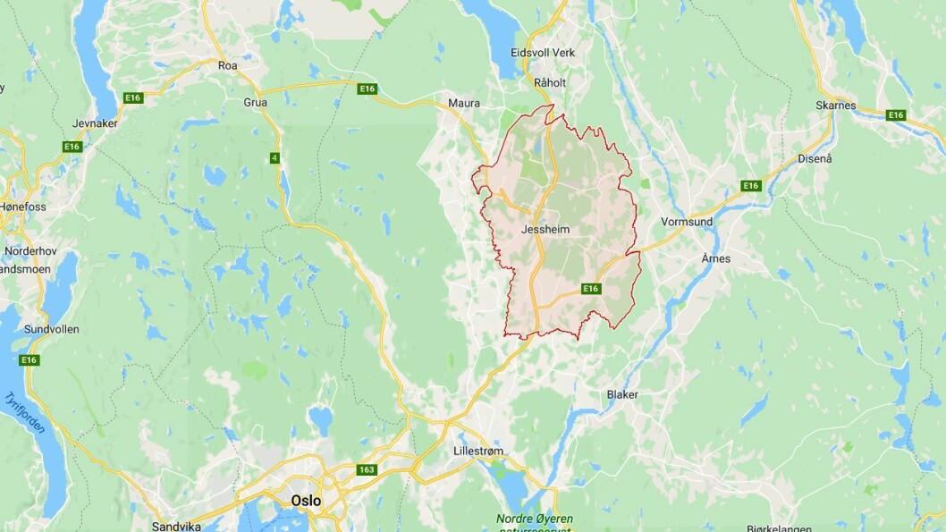Ullensaker kommune ligger i Akershus. Kart: Googlemaps