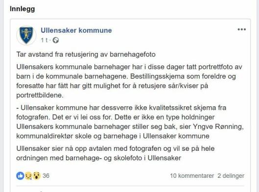 Ullensaker kommune la onsdag formiddag denne meldingen ut på Facebook.