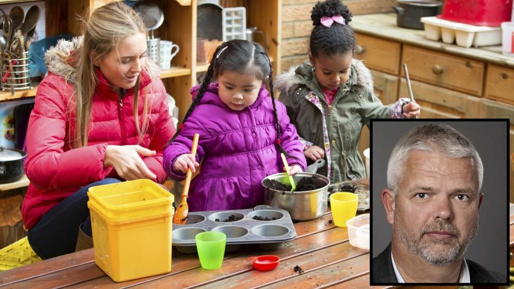 Avdelingsdirektør i KS; Erling Lien Barlindhaug (innfelt) er mer urolig for hva som skjer med finansieringen av barnehagene etter 2020 enn hvordan 100 millioner kroner i overgangsfinansiering er fordelt. Illustrasjonsfoto: Getty Images