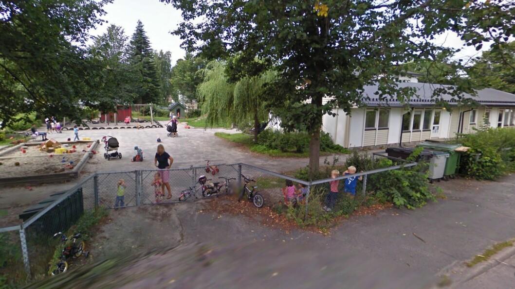 Kirketjernet barnehage i Porsgrunn har siste åpningsdag førstkommende fredag. Mandag er ansatte og barn på plass i helt nybygde lokaler i Vestsiden barnehage. Foto: Googlemaps