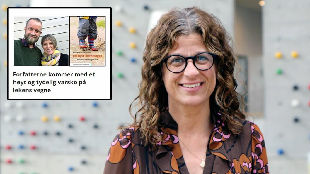 Professor Ingunn Størksen leder blant annet Agderprosjektets opplegg Lekbasert læring. Her svarer hun på påstandene fra forfatterparet Maria Øksnes og Einar Sundsdal (innfelt), som ble intervjuet om boka Lekelyst i barnehagen tidligere denne uka.