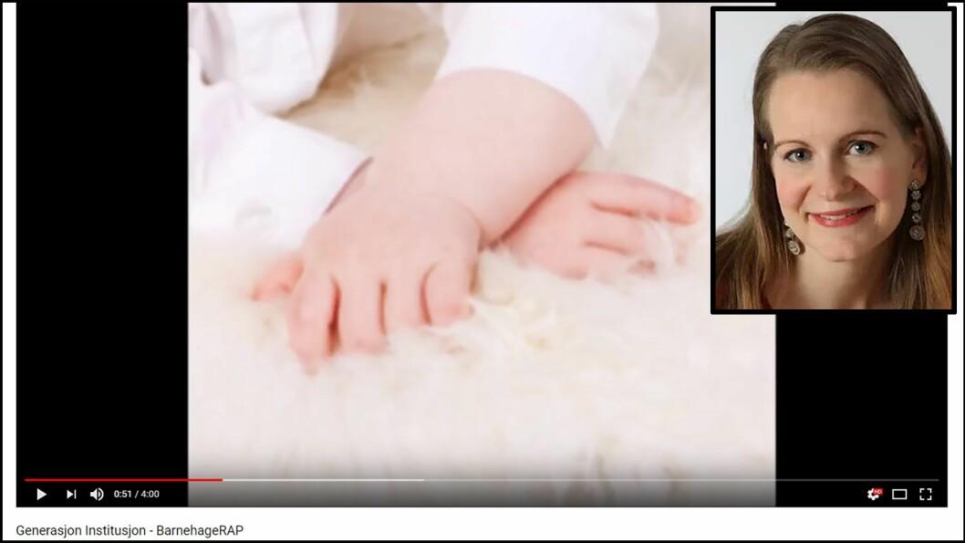 Therese Halle Isene kaller seg selv Generasjon Institusjon i låta BarnehageRAP. Foto: Privat/skjermdump fra Youtube