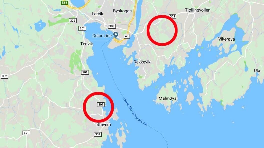 Varden barnehage ligger ved Stavern, mens Valby barnehehage ligger øst for sentrum av Larvik. Nå vurderer Larvik kommune om de to små barnehagene skal ha livets rett. Kart: Googlemaps