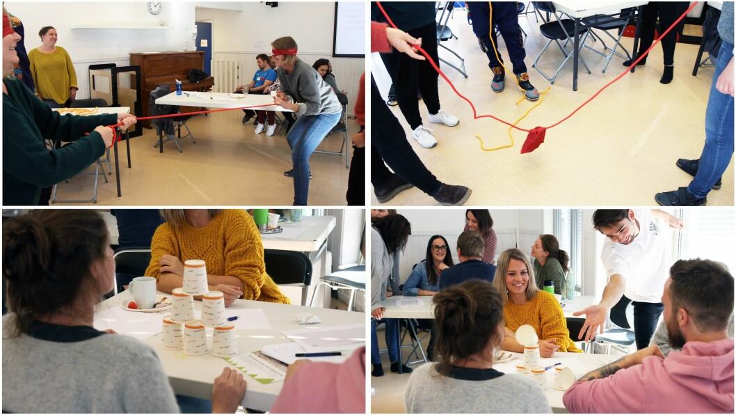 De ansatte i Ragnas Hage ble utfordret til å finne på ulike aktiviteter med blant annet tau og halsvarmere og kopper.