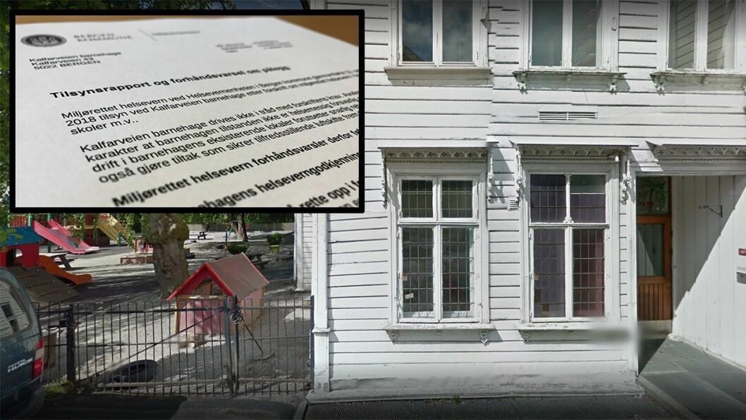 Barnehagen er malt utvendig, og lekeplassen er oppgradert etter at dette bildet er tatt. Men innvendig har Bergen kommune ikke gjort utbedringer til tross for at betydelige avvik ble avdekket for tre år siden. Foto: Googlemaps/faksimile av tilsynsrapport