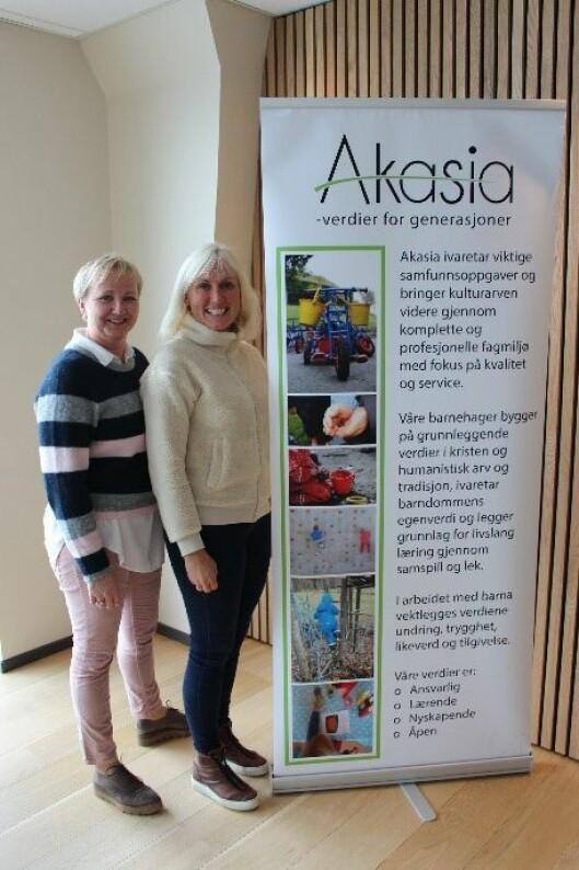 Prosjektlederne for Erasmus+ i Akasia besstår av områdeleder Hilde Ersvær og barnehagesjef Edle Damm.