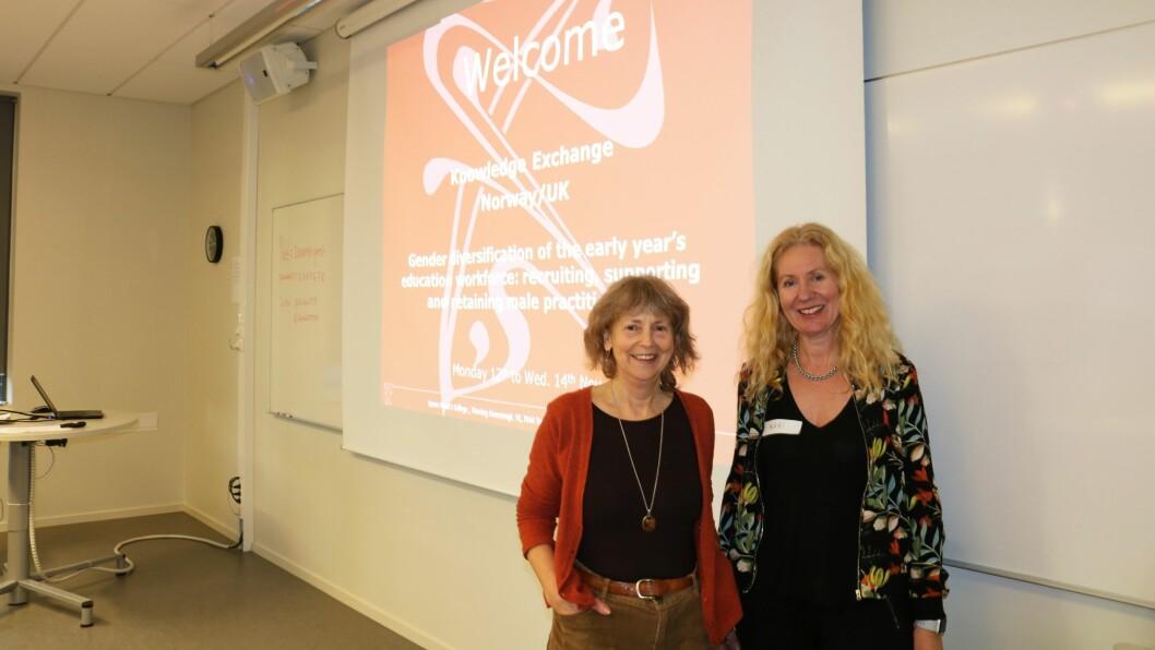 Prosjektleder Jo Warin ved Lancaster University (venstre) og dosent Kari Emilsen ved DMMH (høyre). Her sammen på DMMH under britenes besøk i Norge.