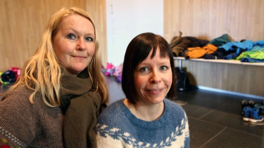 Wenche Høyforsslett (til venstre) fra Fagforbundet og Karina Vertot fra Utdanningsforbundet.
