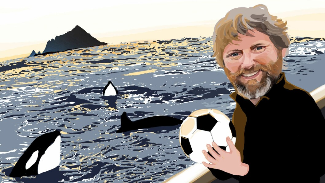 Universitetslektor Erik René Larssen Fagerheim (50) ved Universitetet i Stavanger leder en helt spesiell fotballtrening i denne illustrasjonen. Nå kan han bli kåret til Årets barnehageinspirator.