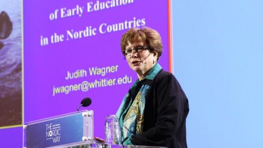 Judith Wagner ved Whittier College holdt et humorfylt innlegg under konferansen The Nordic Way i Oslo denne uken.