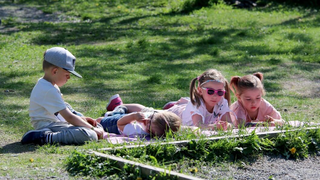 Det fine været sørget for skikkelig festivalstemning i barnehagen.