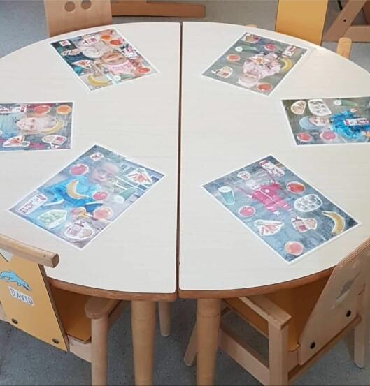 Bordbrikkene skiftes ut etter tema og årstid.